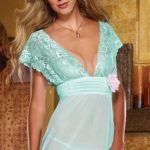 Dreamgirl Elegant Lace & Mesh Babydoll with Thong