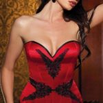 Shirley Of Hollywood Satin with Appliqués Corset & G-String