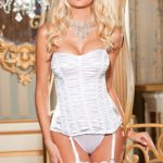 Shirley Of Hollywood Charmeuse Strapless Corset & G-String